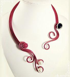 【送料無料】ネックレス クリップアルミビーズコスチュームジュエリーcollier cration, aluminium rouge, perles, shamballa, cristal, bijoux fantaisie