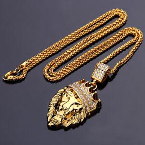 【送料無料】ネックレス ヒップホップファッションゴールドチェーンキングクラウンネックレスライオン