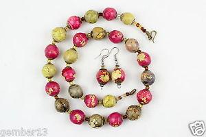 【送料無料】ネックレス ネックレスイヤリングnaturel perles argile collier boucles doreilles ensemble peint la main