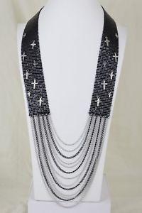 【送料無料】ネックレス メッシュネックレスミニトレンドクロスfemmes long maille noir mtal collier bijoux tendance mini croix bling breloque