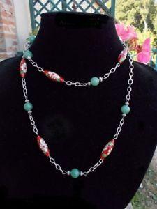 【送料無料】ネックレス ネックレスビーズcollier perles cloisonnes rouges et perles vert jade, bijoux cloisonns chinois