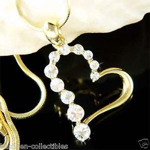 【送料無料】ネックレス ゴールドスワロフスキークリスタルバレンタインネックレスペンダントor plaqu avec cristal swarovski valentin coeur amour collier breloque pendentif
