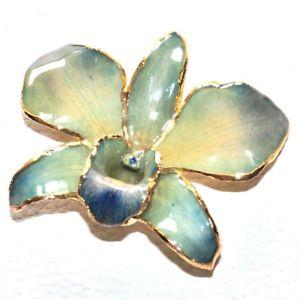 【送料無料】ネックレス ペンダントピンカラーリアルゴールドオーキッドpendentif et ou broche couleur or vritable orchide bleu vert bijou pendant