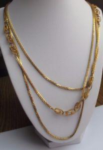 【送料無料】ネックレス クリップビンテージデコレリーフカラーゴールドgrand collier bijou vintage sautoir 3 rangs dco relief grav couleur or 2120