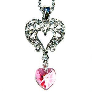 【送料無料】ネックレス スワロフスキークリスタルサンバレンティンライトピンクバラハートネックレスw swarovski cristal saint valentin ~ lumire rose rose filigrane coeur ~ collier