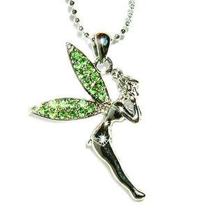 【送料無料】ネックレス スワロフスキークリスタルネックレスvert pixie angel avec cristal swarovski fe ~ fe clochette ~ tinker collier