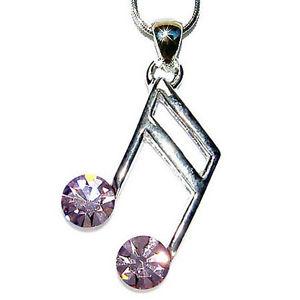 【送料無料】ネックレス スワロフスキーミュージカルクリスタルバイオレットペンダントネックレスw swarovski cristal musical ~ violet note double croche collier pendentif