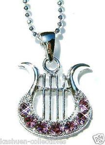 【送料無料】ネックレス スワロフスキークリスタルハープクリスマスクランプviolet avec cristal swarovski~ harpe ~ musique instrument musical collier nol