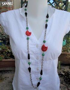 【送料無料】ネックレス クランプcollier ethnique chinois en cinabre rouge noir perles vert jade, bijoux poissons