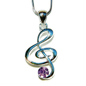【送料無料】ネックレス スワロフスキークリスタルアースクランプペンダントキーviolet avec cristal swarovski cl de sol musical note collier breloque pendentif