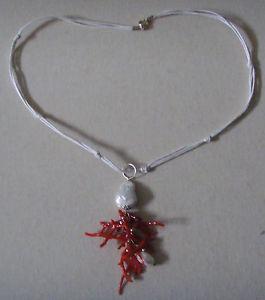 【送料無料】ネックレス パールフリンジcollana donna con ciondolo a frange in perle e corallo