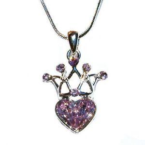 【送料無料】ネックレス スワロフスキークリスタルクラウンネックレスライラックlilas avec cristal swarovski bridesamid couronne amour cur charme collier