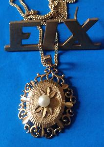 【送料無料】ネックレス チェーンアンティークパールancien pendentif fix perle de culture chaine antique pendant