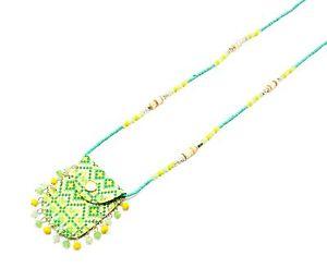 【送料無料】ネックレス ペンダントネックレスポーチモザイクビーズcl586 * sautoir collier pendentif pochette mosaque ethnique et perles vert