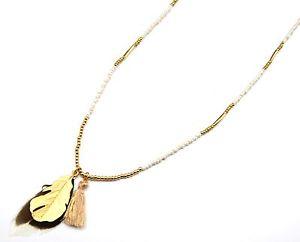 【送料無料】ネックレス ネックレスペンダントエスニックベージュポンポンcl1039e * sautoir collier perles pendentif plumes ethnique mtal et pompon beige