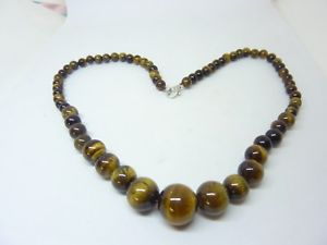 【送料無料】ネックレス ネックレスタイガーアイビーズcollier oeil de tigre perles 146 mm longueur total 46 cm