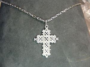 【送料無料】ネックレス カテナコンディクローチェアルジェントcatena 40 cm con ciondolo a forma di croce traforata in argento 925 millesimi
