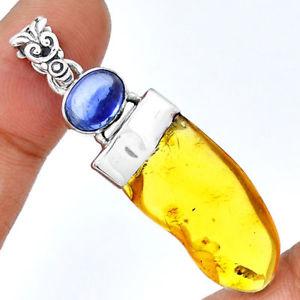 【送料無料】ネックレス オレンジカイアナイトシルバーpendentif ambre et cyanite monture en argent 925 ref 7344
