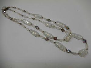 【送料無料】ネックレス ガラスアートダブルdouble collier en verre opalescent art nouveau