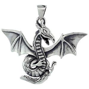 【送料無料】ネックレス グラムスターリングシルバードラゴンペンダント118 grammes argent sterling dragon grand pendentif