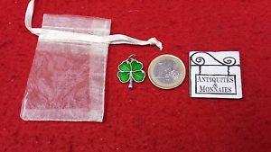 【送料無料】ネックレス ポルトボヌール50 x pendentif trefle a 4 feuilles porte bonheur metal emaille vert ref23060