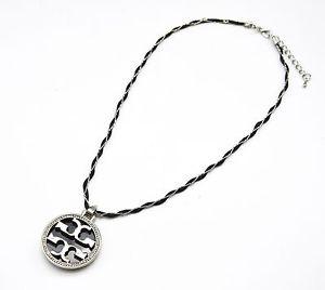 【送料無料】ネックレス コードクランプペンダントシンボルファッションシルバーcc841 * collier cordon pendentif symbole contour strass mode femme argent