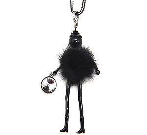 【送料無料】ネックレス ペンダントネックレスポンポンsp708d sautoir collier pendentif poupe articule femme robe pompon fourrur