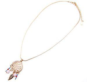 【送料無料】ネックレス ペンダントネックレスピンクcc1367d * collier pendentif petit attrape rves strass perles plumes mtal rose