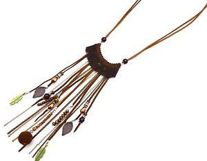 【送料無料】ネックレス ダブルクランプフェルトコードフリンジcl1256f sautoir collier double cordon feutrine taupe et pendentif franges f