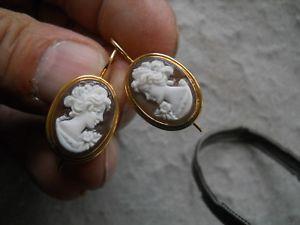 【送料無料】ネックレス アルジェントビンテージorecchini in cammeo sardonico su argento 925 bagnato oro  vintage
