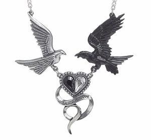 【送料無料】ネックレス サンシルバーハートハトクランプゴシックepiphany saint corvus noir et argent coeur colombes collier alchemy gothic p771