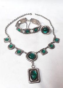 【送料無料】ネックレス ネックストラップブッシングbijou ancien  ensemble 1970 ras du cou bracelet et bague en mtal argente