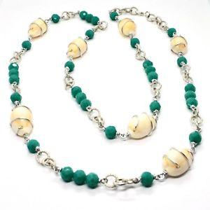 【送料無料】ネックレス アルミクランプセンチメートルシェルle collier aluminium longue 90 centimtres avec shell et strass cristaux vert