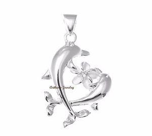 【送料無料】ネックレス ソリッドシルバーハワイアンプルメリアペンダントargent massif 925 hawaen 2 dauphin plumeria pendentif fleur