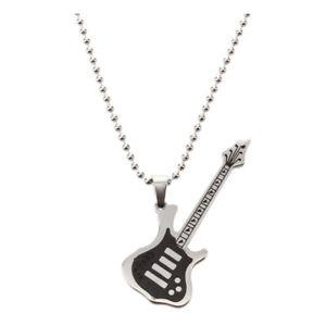 【送料無料】ネックレス ステンレススチールペンダントネックレスシルバーブラックギター5xguitare en acier inoxydable collier pendentif sliver noir e3e8