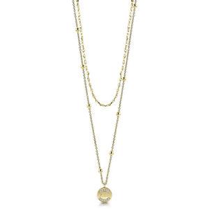 【送料無料】ネックレス コンヌオーヴァguess jewels collana dorata a doppio filo con ciondolo ubn28032 nuova