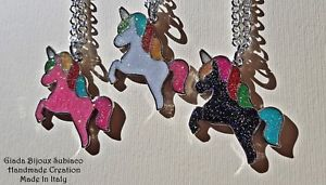 【送料無料】ネックレス ベゼルアイデアレガロcollane artigianali bezel unicorno colorati iridescenti idea regalo natale