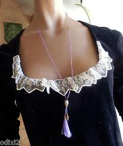 【送料無料】ネックレス テットゥトリミングクリップsautoir collier de fines perles violine tete de bouddha et passementerie