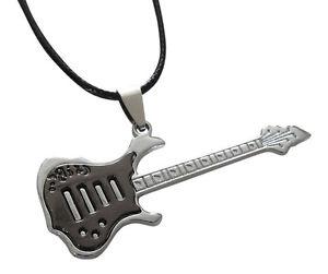 【送料無料】ネックレス クランプギターペンダントシルバーブラックコードcollier, pendentif guitare argent et noir cordon a1