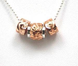 【送料無料】ネックレス シックピンクシルバーハワイアンプルメリアバレルダブルクリックpais rose argent 925 hawaen plumeria fleur volutes double baril perle ensemble