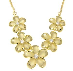 【送料無料】ネックレス イエローゴールドソリッドシルバーハワイアンプルメリアフラワークリップor jaune argent massif 925 5 hawaen plumeria collier fleur grand