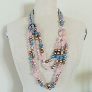 【送料無料】ネックレス ディパールローザcollana drappeggio di perle barocche quarzo rosa e angelite