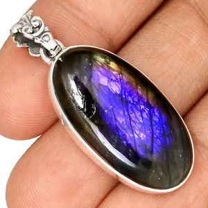【送料無料】ネックレス ペンダントケースマウントpendentif protection labradorite violet trs rare monture argent 925 ref 4884