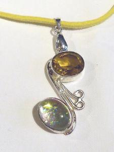 【送料無料】ネックレス ペンダントスエードカラーpendentif plaqu argent avec jaune daim collier cg1421