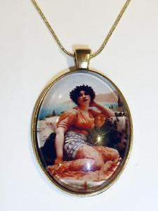 【送料無料】ネックレス メッキネックレスplaqu or collier peinture de magnifique femme cg0953