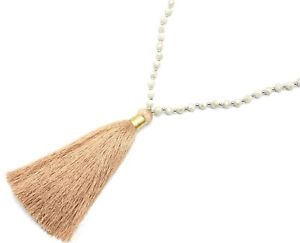 【送料無料】ネックレス ポンポンペンダントネックレスブリリアントエクリュcl1924f sautoir collier perles brillantes ecru avec pendentif pompon fils b