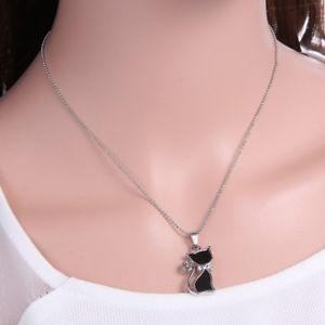 【送料無料】ネックレス プレートクリスタルペンダントネックレスas fr20700 plaque strass cristal mignon de chat colliers pendentif