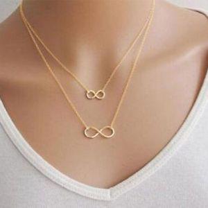 【送料無料】ネックレス ゴールドシルバープレートダブルsm fr47261 femme or plaque argent femmes fille bijoux double trendy