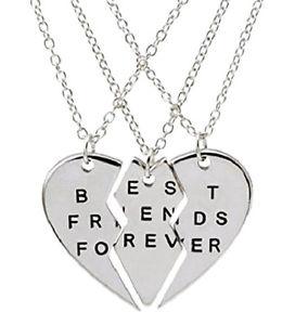 【送料無料】ネックレス アミーチクオーレset tre collane best friends forever migliori amici per sempre cuore spezzato