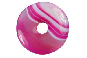 【送料無料】ネックレス ドーナツピンクスモークdonut ou pi chinois agate teinte rose 4cm